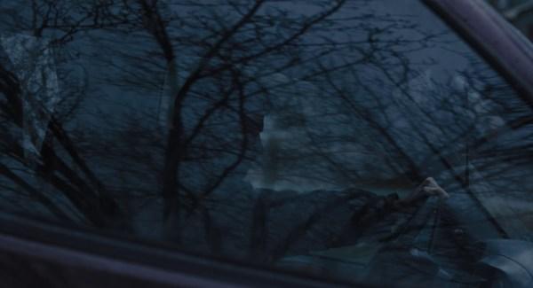 A silhueta de Hugh Jackman sobreposta ao reflexo de uma árvore sem folhas
