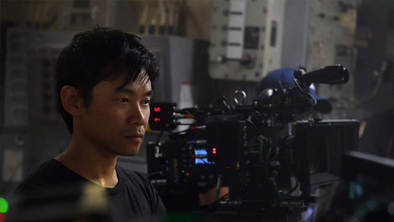 "O diretor James Wan no set de ""Aquaman"""