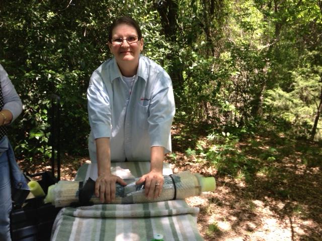Louise Schubert demonstrating wet felting