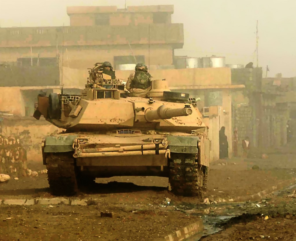 A U.S. Army M1 Abrams from the 1-3 Armored Combat Regiment conducts cordon and search operations in the city of Bi'aj, Iraq on 26 Jan 2005. (U.S. Air Force photo by Staff. Sgt Aaron Allmon)(Released)