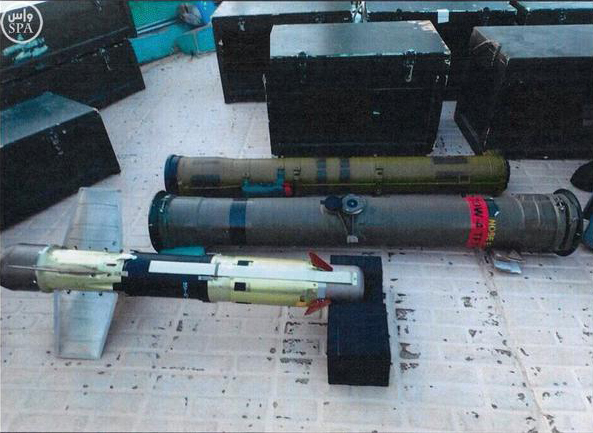 In this image posted on the official Twitter account of the Saudi Press agency, SPA, Tuesday, Sept. 30, 2015, confiscated weapons are seen aboard an Iranian fishing boat bound for Yemen. The Saudi-led coalition battling Yemen's Shiite rebels says it has foiled an attempt by Iran to smuggle missiles and other weapons to the rebels aboard a fishing boat. The coalition says in a statement released Wednesday that the seizure took place on Saturday some 241 kilometers (150 miles) southeast of the Omani port of Salalah. (Saudi Press Agency via AP)