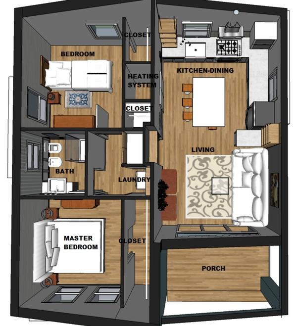 Plano 3D de Casa Contemporanea de una planta – Planos de ...
