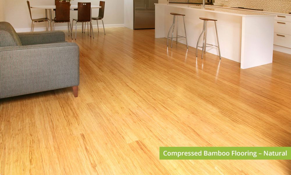 Plantation Bamboo Flooring Products New Zealand - Compressed bamboo flooring shown in natural colour-way installed in living dinning space