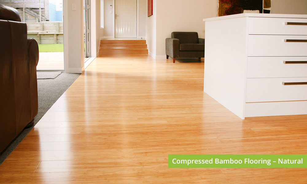 Plantation Bamboo Flooring Products New Zealand - Compressed bamboo flooring shown in natural colour-way installed in kitchen space