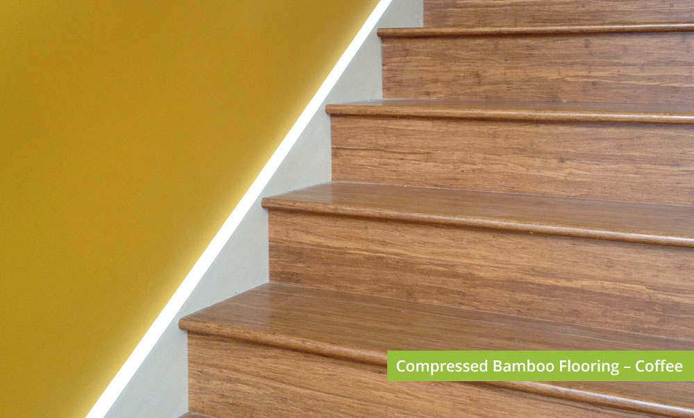 Plantation Bamboo Flooring Products New Zealand - Compressed bamboo flooring shown in coffee colour-way used for stairs