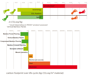 Graph of bamboo and wood carbon footprint