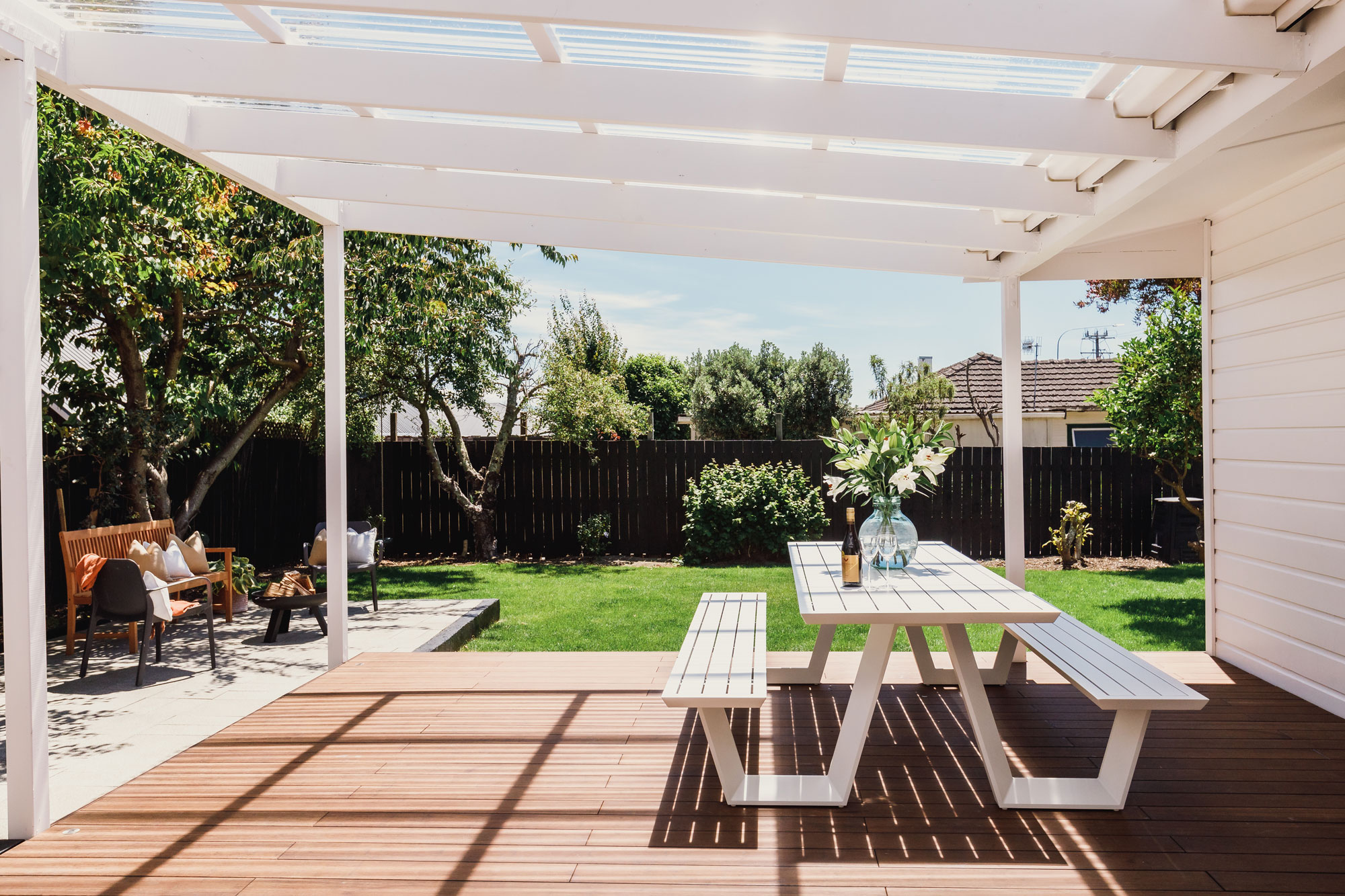 Bamboo deck in New Zealand built by Pearson Project