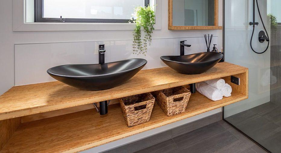 Bamboo panels used as bathroom vanity