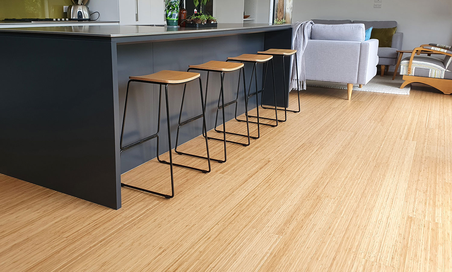 Modern kitchen with durable bamboo flooring