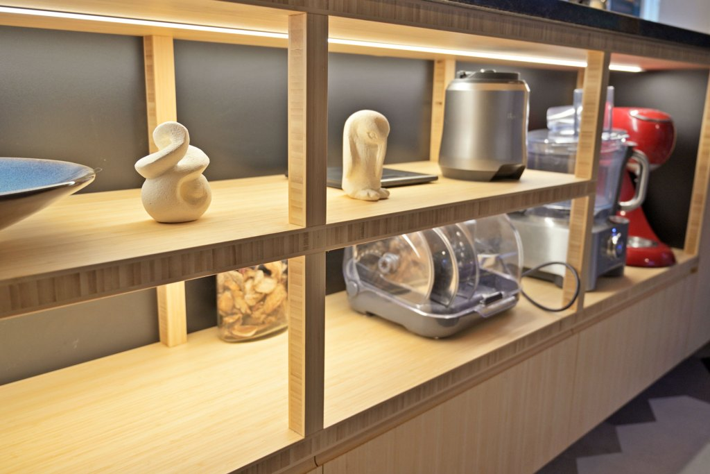 Kitchen shelves made from Bamboo panels