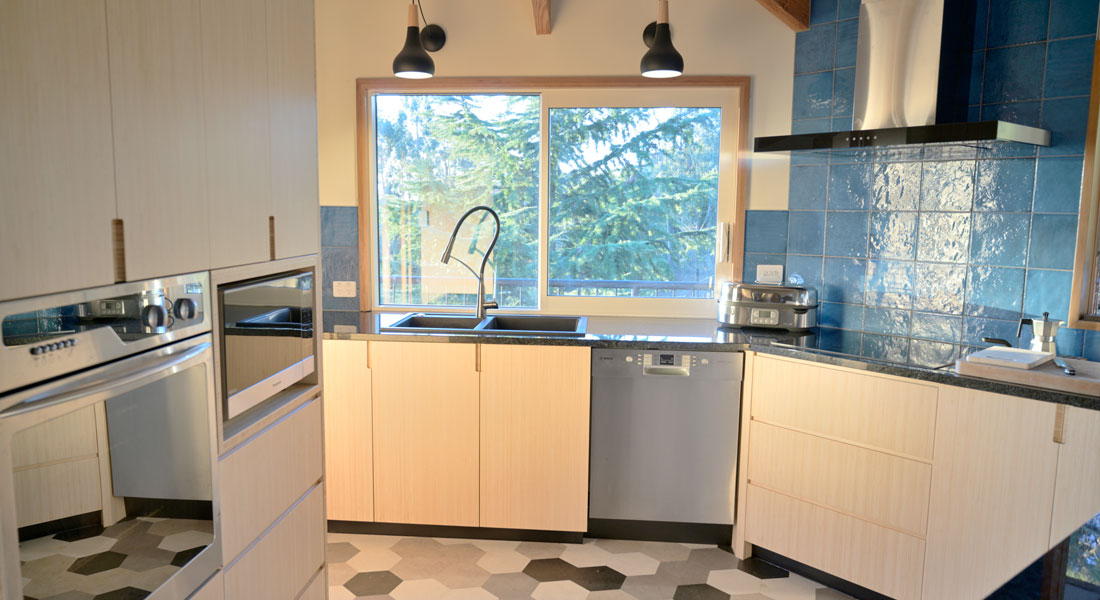 Kitchen made from bamboo panels