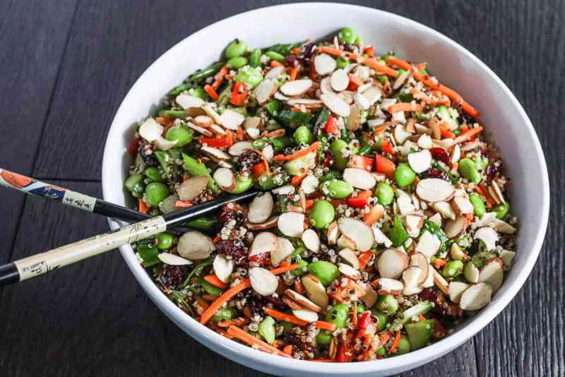 Quinoa edamame salad with almonds sprinkled on top