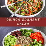 quinoa edamame salad in a white bowl with a pair of chopsticks