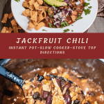 Jackfruit chili in a white bowl, above a pot of jackfruit chili in an instant pot