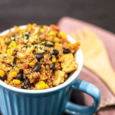 Quinoa power bowl recipe in a blue mug