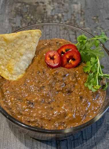 Black bean dip with a chip on the side