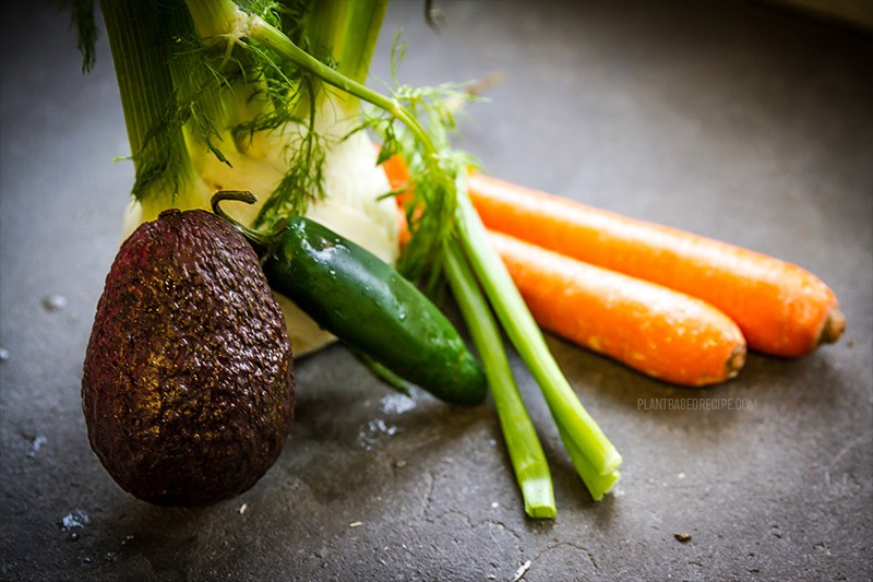 fennel, avocado, green onion, carrots, jalapeno