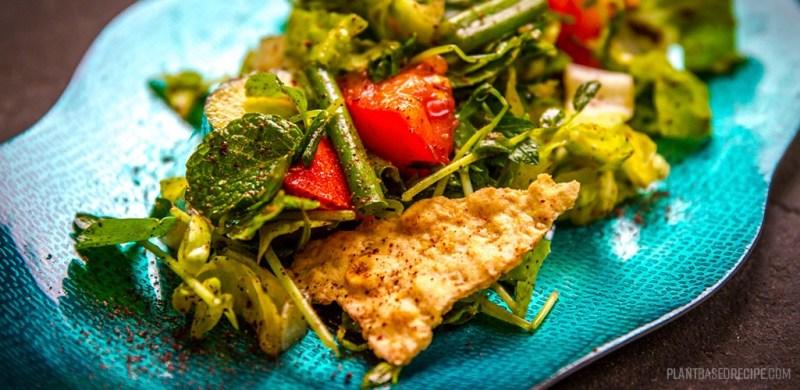 Fattoush salad - vegan and oil free.
