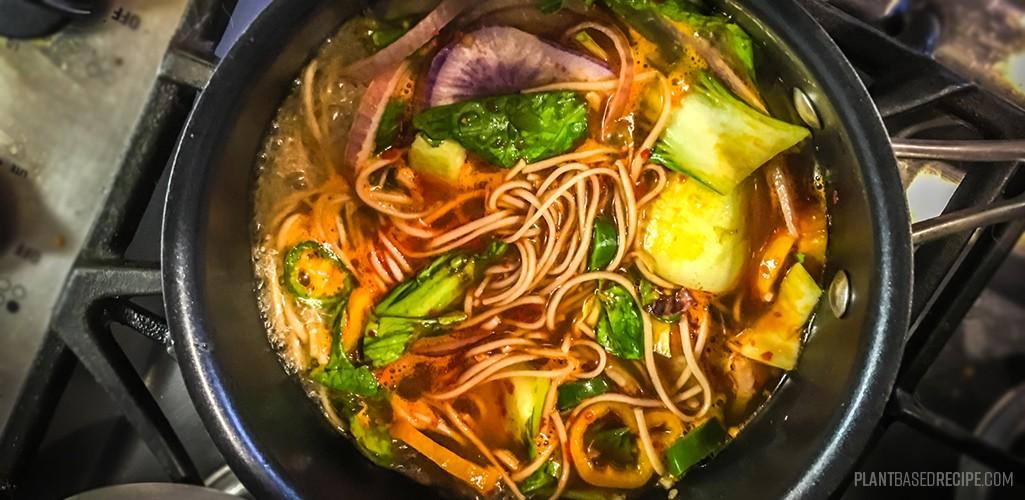 Spicy vegan noodle soup