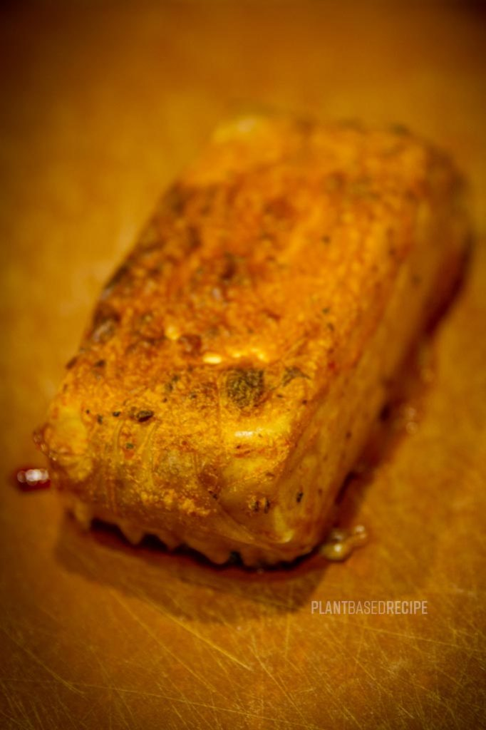 Pressed and baked tofu