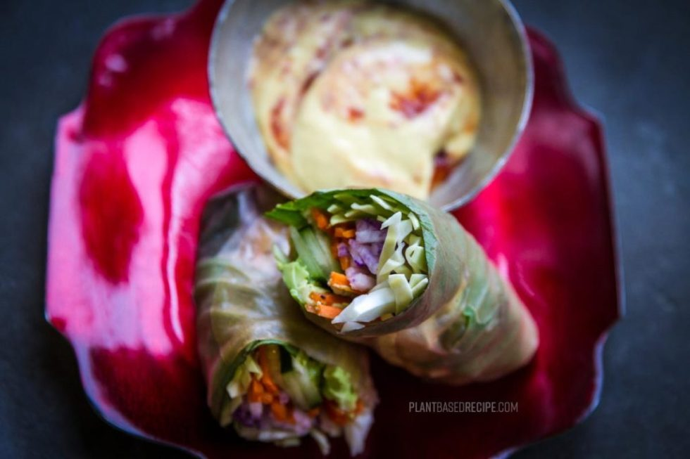 Rice paper wrapped vegetables.