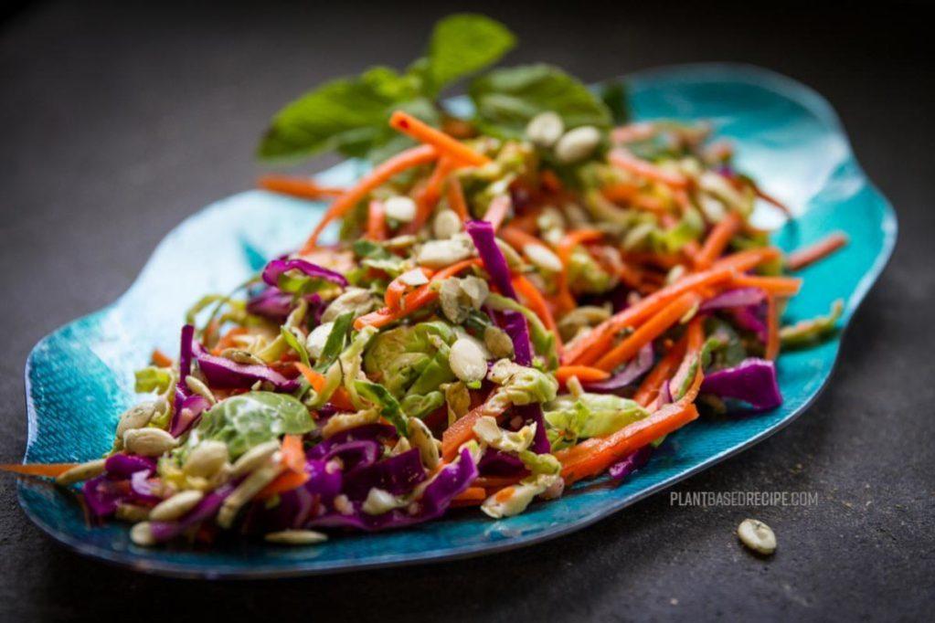 shaved brussel sprouts no oil vegan salad