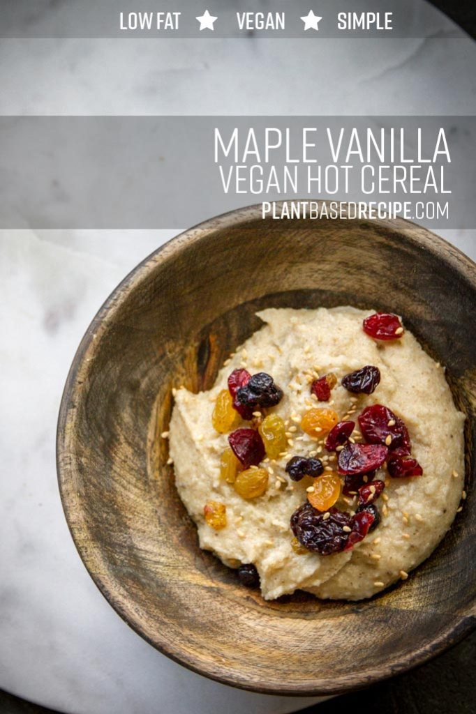 Pinnable image for maple vanilla hot cereal (vegan).