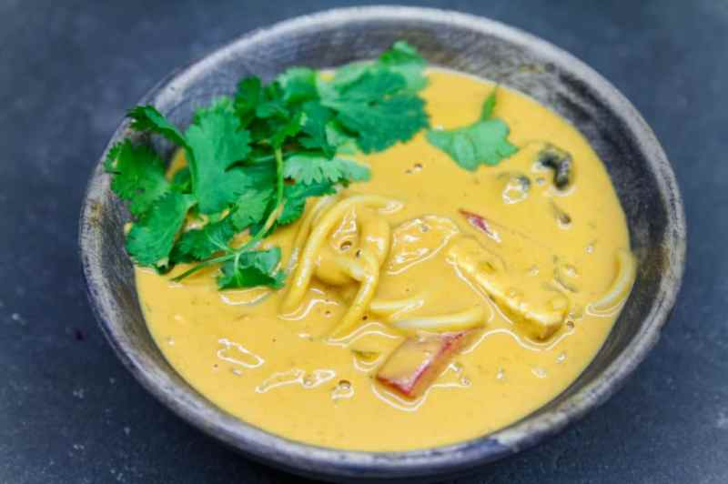 Thick and creamy peanut noodle soup.