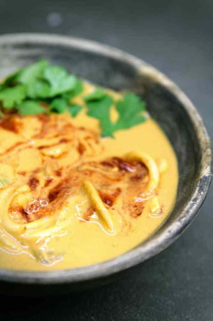 No coconut milk thai peanut noodle soup