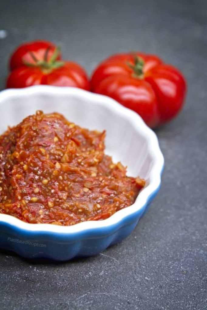 Vegan Tomato jam with chia seeds recipe