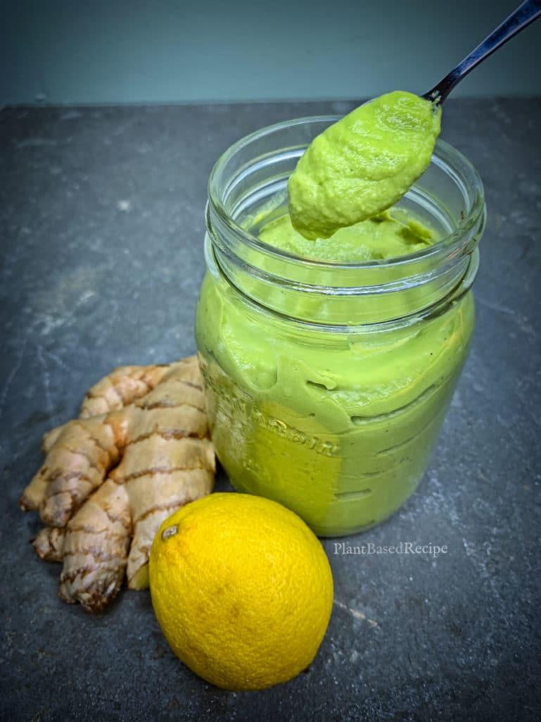 Lemon and Ginger vegan green goddess dressing recipe