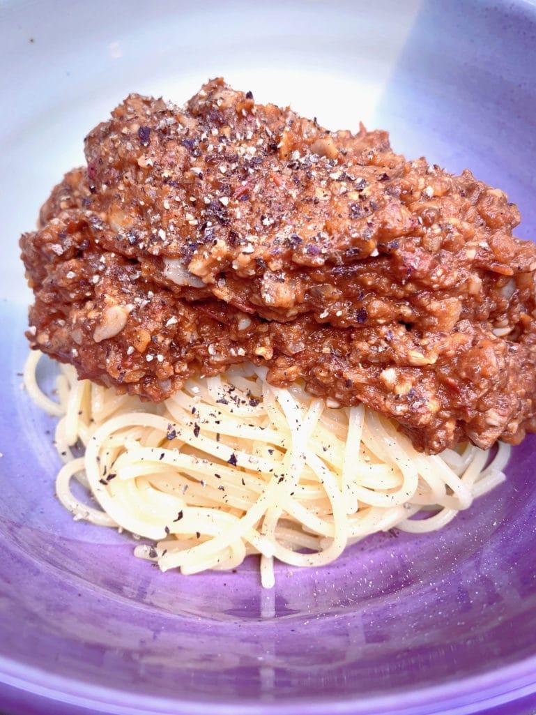 Recipe for Meaty vegan bolognese sauce