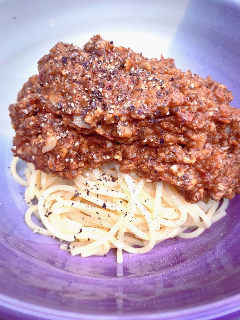 Recipe for Meaty vegan bolognese sauce
