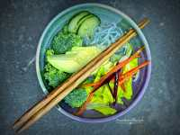 Deluxe sunomono salad recipe includes a bunch of vegetables in broth.
