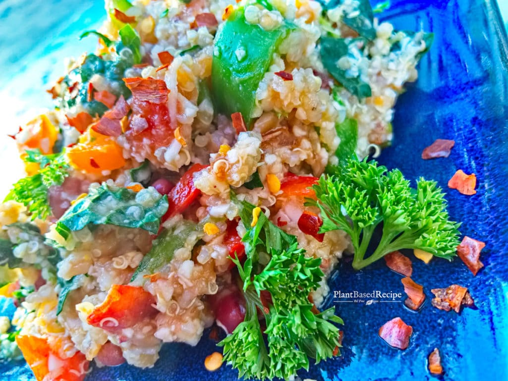 Close-up of the Ginger Orange vegetable farro and quinoa salad.