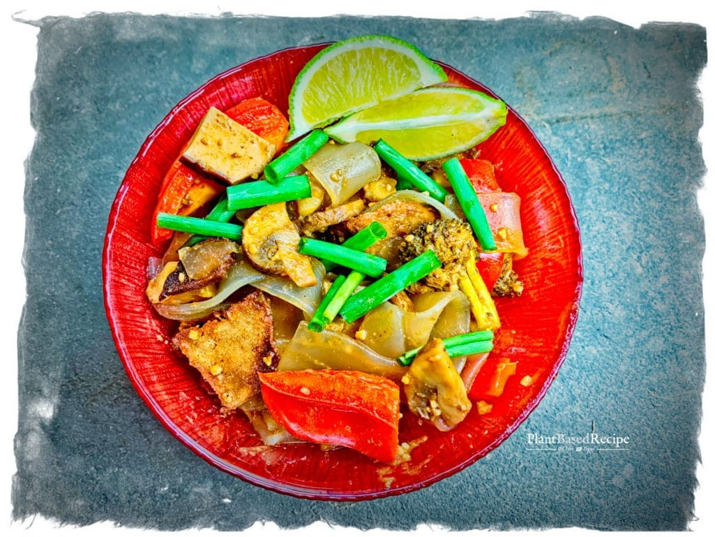 Vegan Drunken Noodle recipe - noodles in a dish on the table
