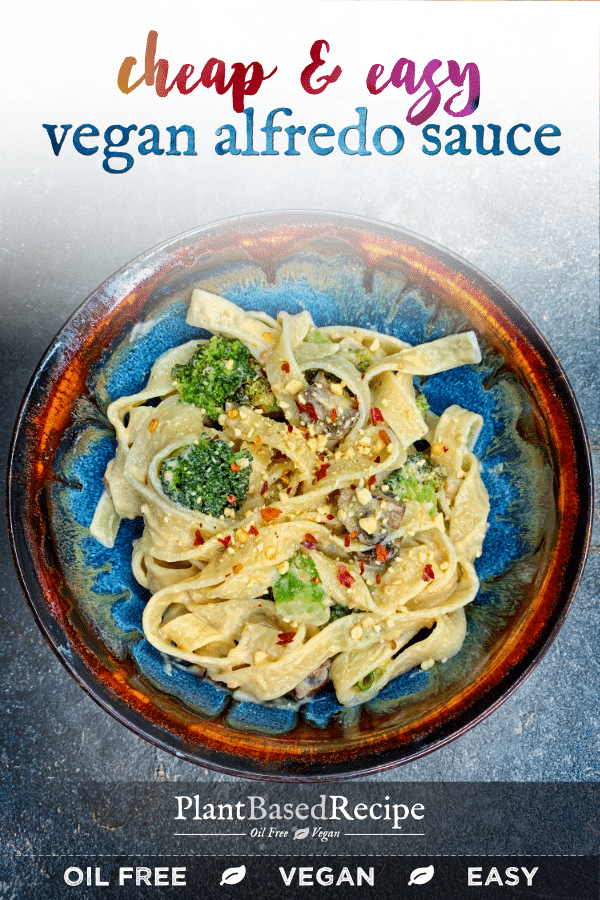 This easy oil free vegan alfredo sauce pairs with tons of different dishes - it's based on cheap ingredients and is easy to make too!