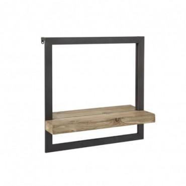 etagere mur 1 planche miroir bois metal naturel