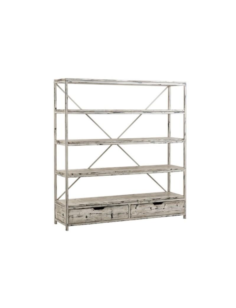 etagere ibiza 2 tiroirs bois metal blanc delave