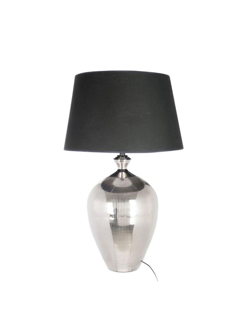 pied de lampe abat jour boule lignes aluminium argent noir