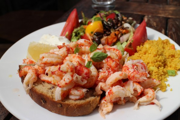 An open sandwich of crayfish tails and cons cos after a morning of plant collecting, perfect!