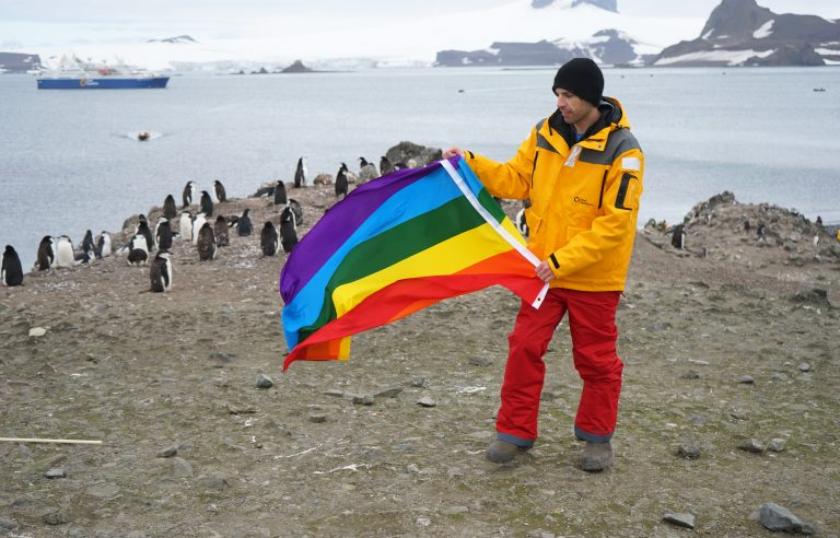 Penguins and gay flag – only in Antarctica!