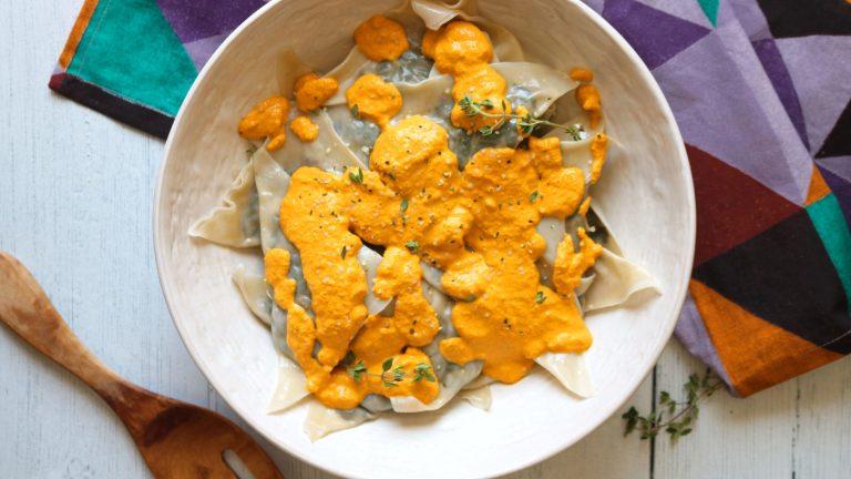 Vegan Mushroom and Spinach Ravioli Recipe with Carrot Tahini Sauce