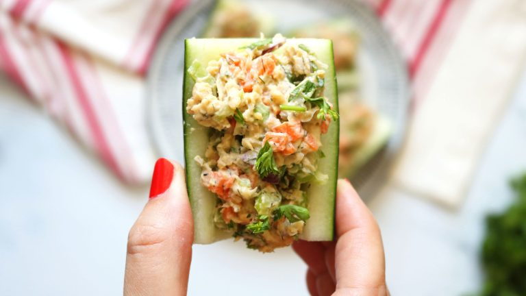 Vegan Chickpea Salad Filled Cucumber Boats Recipe