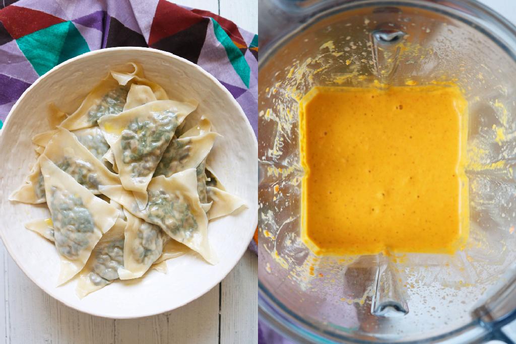 vegan mushroom raviolis and sauce in containers