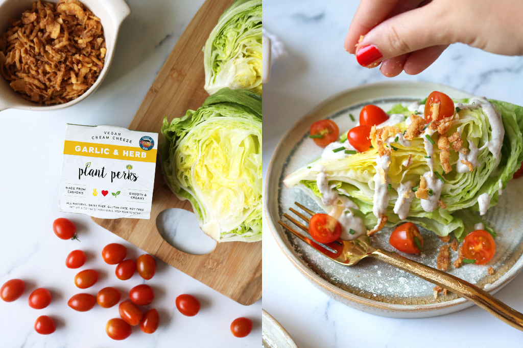 Plant Perks Vegan Garlic & Herb Cashew Cheese container next to a wedge salad