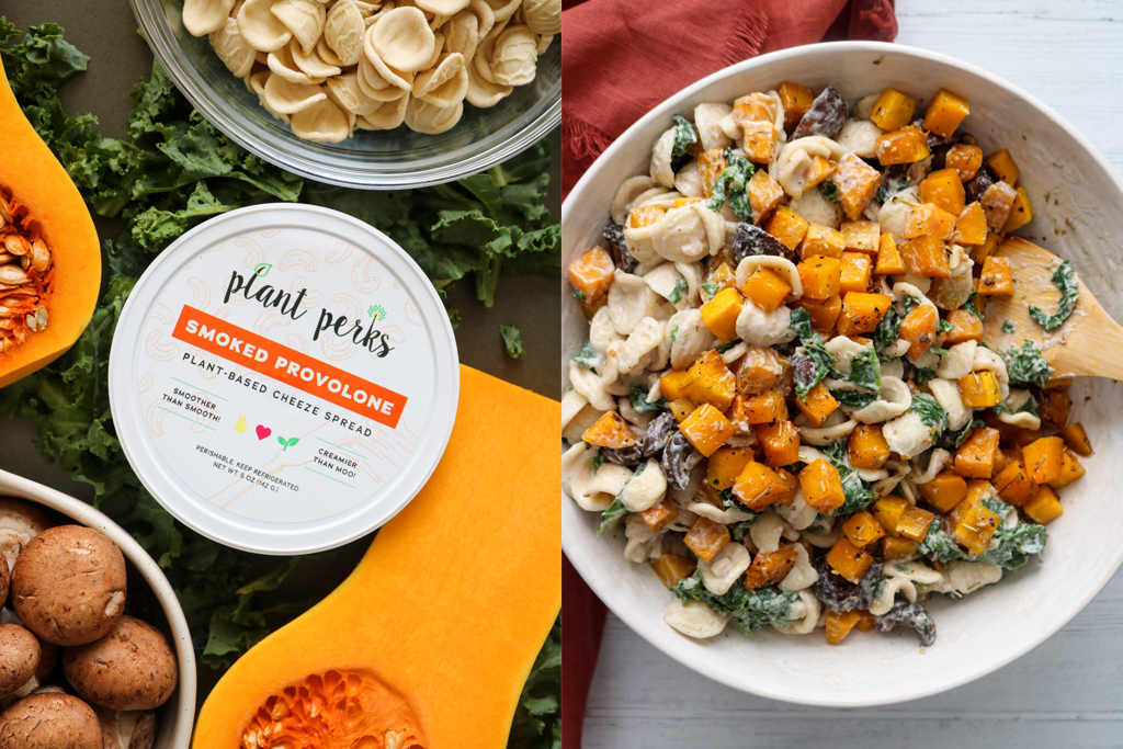 Plant Perks Smoked Provolone Vegan Cashew Cheese container next to vegan butternut squash pasta in a serving bowl