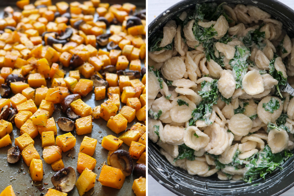 roasted butternut squash on tray next to creamy pasta shells in a pot