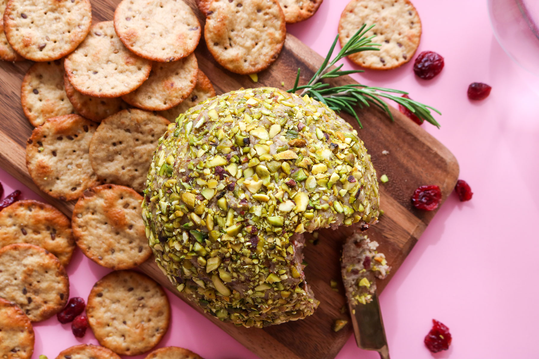 Cranberry Pistachio Vegan Cheese Ball Recipe