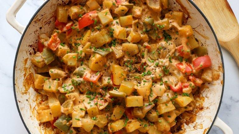 Sriracha Cheddar & Chive Vegan Breakfast Potatoes Recipe